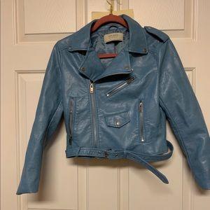 """Zara blue """"leather"""" jacket faux sz med tts"""
